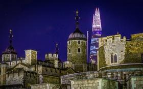 Обои ночь, Англия, Лондон, башня, дома, Shard