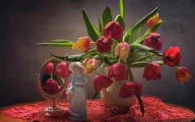Картинка отражение, букет, зеркало, девочка, тюльпаны, статуэтка