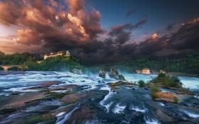 Картинка небо, облака, река, дома, потоки