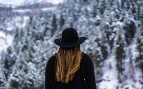 Картинка зима, девушка, снег, волосы, шляпа