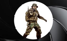 Обои Battlefield 4, экипировка, солдат, круг, пистолет