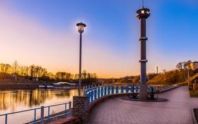 Обои река, рассвет, фонарь, набережная, Беларусь, Гродно