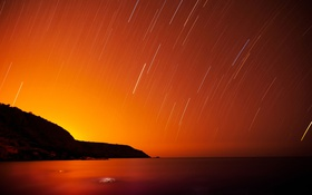 Картинка Nature, Stars, Mountain, Ocean, Sea, Long, Exposure