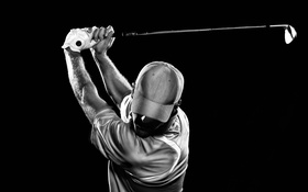 Обои golfer, golf, black, white