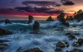Картинка море, скалы, ночь