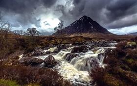 Обои река, камни, гора, поток, Scotland