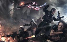 Обои ночь, оружие, флаг, солдаты, Homefront: The Revolution, баррикады