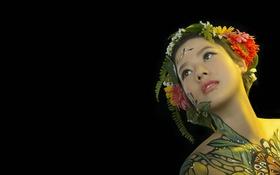 Обои девушка, портрет, азиатка, боди арт, body painting, hani nguyễn