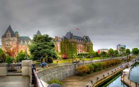 Обои Victoria, Британская Колумбия, набережная, British Columbia, фонари, Канада, Виктория
