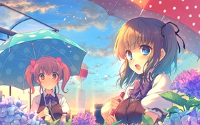 Обои небо, облака, цветы, город, девушки, дома, зонт