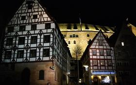 Обои ночь, огни, дома, Германия, Бавария, крепость, Нюрнберг