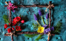 Картинка цветы, стиль, рамка, композиция