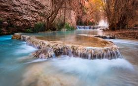 Обои деревья, ручей, скалы, водопад, каньон, США, каскад