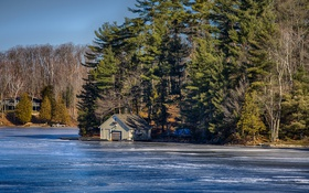 Картинка деревья, природа, Канада, Онтарио, домик, Каварта Лейкс, озеро Хед