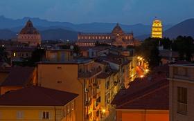 Обои падающая башня, баптистерий, Тоскана, Пиза, собор, Италия, дома