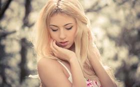Картинка лес, девушка, лицо, настроение, милая, модель, размытие