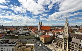 Обои Мариенплац, Мюнхен, панорама, Германия, новая ратуша, Фрауэнкирхе