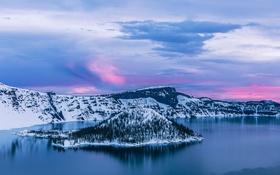 Обои восход, рассвет, остров, Орегон, Oregon, Crater Lake, Crater Lake National Park