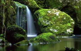 Обои мох, река, водопад, Cladagh River, Ирландия, камни