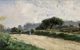 Обои Дорога в Виллервиле, Карлос де Хаэс, путники, картина, забор, пейзаж, деревья