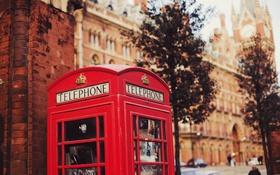 Обои телефонная, красная, будка, улица