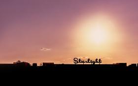 Обои вывеска, закат, небо