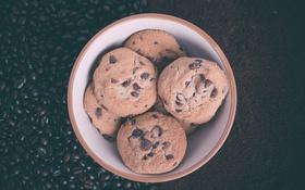 Обои кофе, шоколад, печенье, кофейные зерна