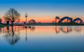 Обои вода, дерево, панорама, канал, зарево, Нидерланды