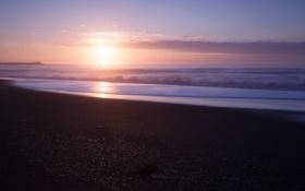 Картинка небо, солнце, облака, закат, океан, берег, побережье
