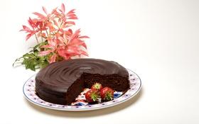 Обои шоколад, клубника, торт, Strawberry, сладкое, Chocolate, pie