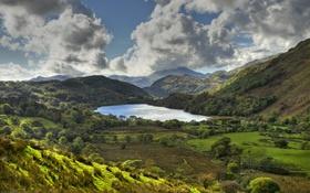 Обои небо, деревья, горы, озеро, поля, Англия, долина