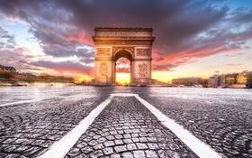 Обои Париж, город, закат