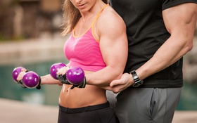 Обои woman, men, fitness, coach, dumbbells