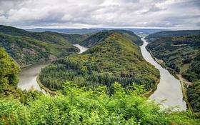 Картинка зелень, лес, облака, деревья, горы, река, Германия