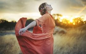 Картинка девушка, закат, платье, профиль