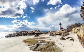 Картинка песок, море, пляж, небо, солнце, облака, камни