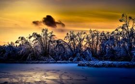 Картинка зима, снег, ночь