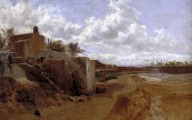 Обои пейзаж, картина, Карлос де Хаэс, Дом в Эльче