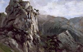 Обои пейзаж, природа, картина, Карлос де Хаэс, Скалы в Пахаресе