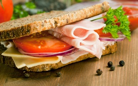 Обои зелень, сыр, хлеб, бутерброд, помидор, cheese, ветчина