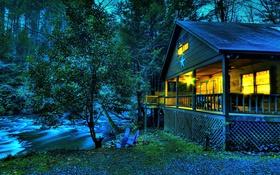Обои лес, деревья, дом, река, стулья, вечер, США
