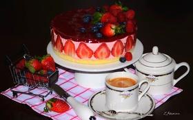 Обои ягоды, малина, кофе, клубника, торт, голубика