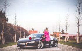 Обои девушка, Audi, розовое, блондинка, автомобиль, пальто