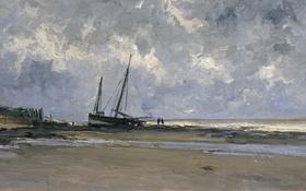 Обои берег, лодка, картина, морской пейзаж, Карлос де Хаэс, Море в Виллервиле