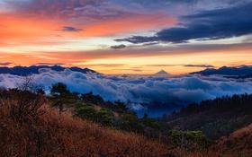 Обои облака, пейзаж, горы, природа
