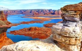 Обои горы, природа, озеро, скалы, панорама