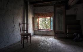 Обои комната, стул, окно