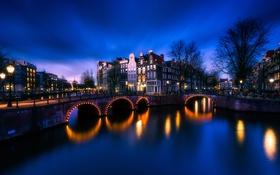 Обои мост, дома, огни, Амстердам, Нидерланды, канал, ночь