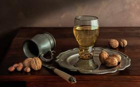 Обои вино, бокал, орехи, натюрморт, фундук, грецкий