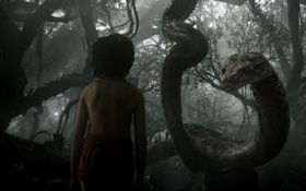 Обои мальчик, питон, Маугли, The Jungle Book, Книга джунглей, Каа